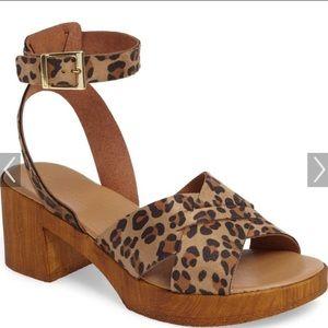 New Topshop leopard print platform heel sandals